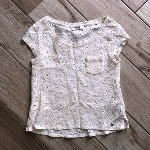 Abercrombie and Fitch Cream Eyelet Tee